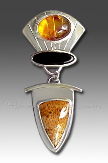 petrified palmwood pendant with amber and onyx