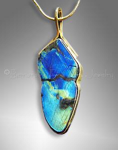 Gold Spectrolite pendant