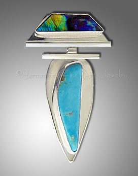 turquoise and spectrolite pendant