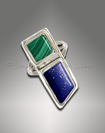 lapis and malachite ring