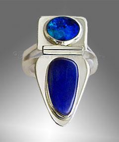 boulder opal, lapis ring