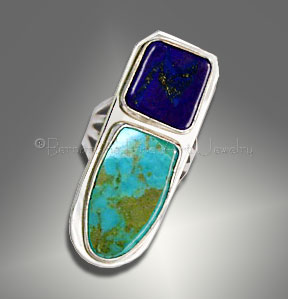 sterling silver lapis and turquoise ring