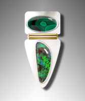 Malachite and Boulder Opal ring design
