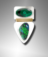 Malachite and Boulder Opal ring