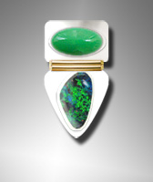 Chrysoprase and Boulder Opal ring