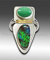 opal and chrysoprase ring