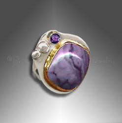 Opalite ring with amethyst