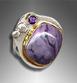 Opalite and amethyst ring