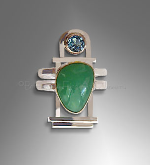 Topaz and Chrysoprase Sterling Silver  & GoldRing