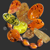 amber beads, cabs and rough